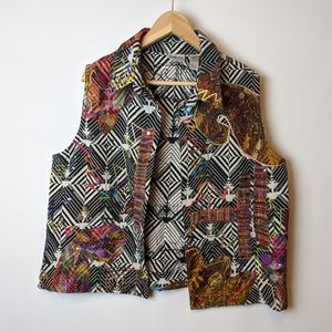 Chico's vest pattern geometric multi colored